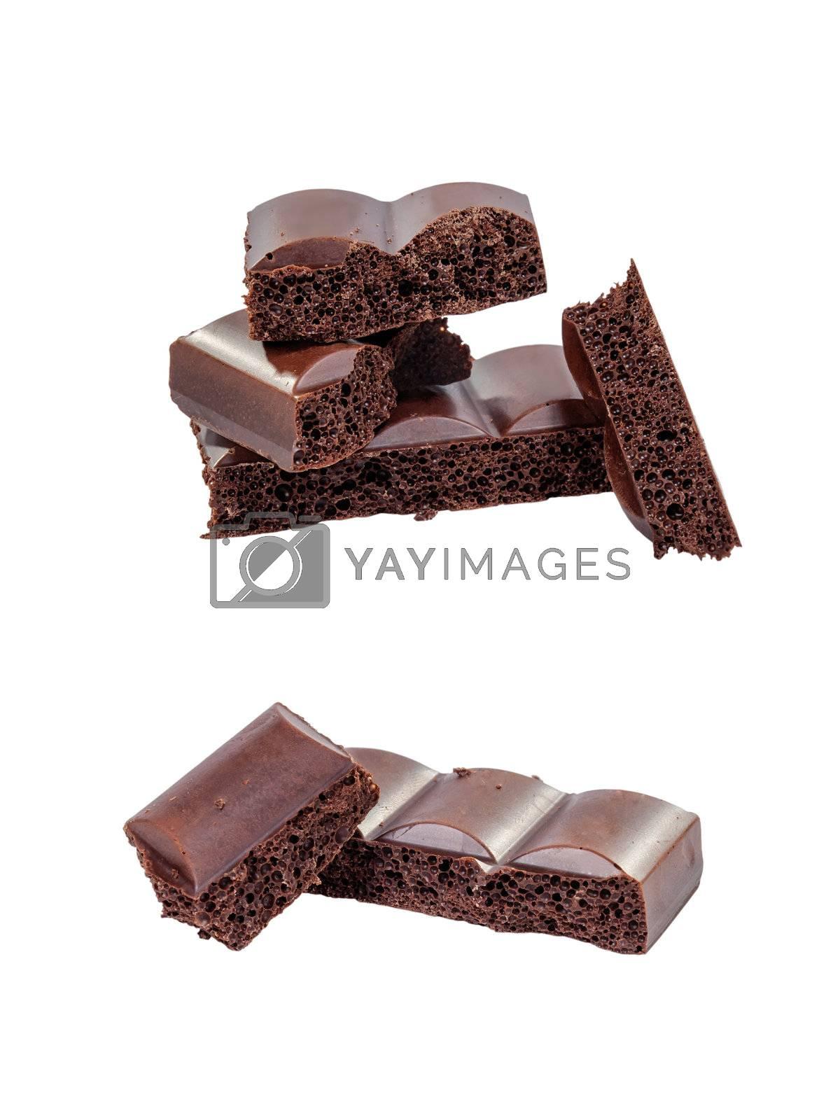 Half black chocolate bars isolated on white background, set