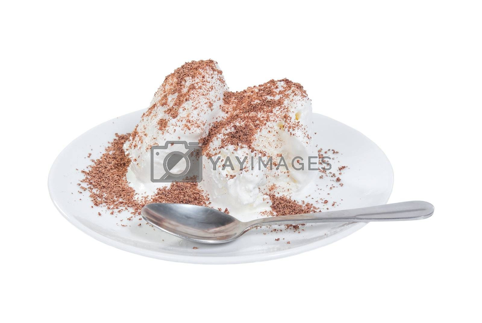 Ice cream with chocolate on plate isolated on white background