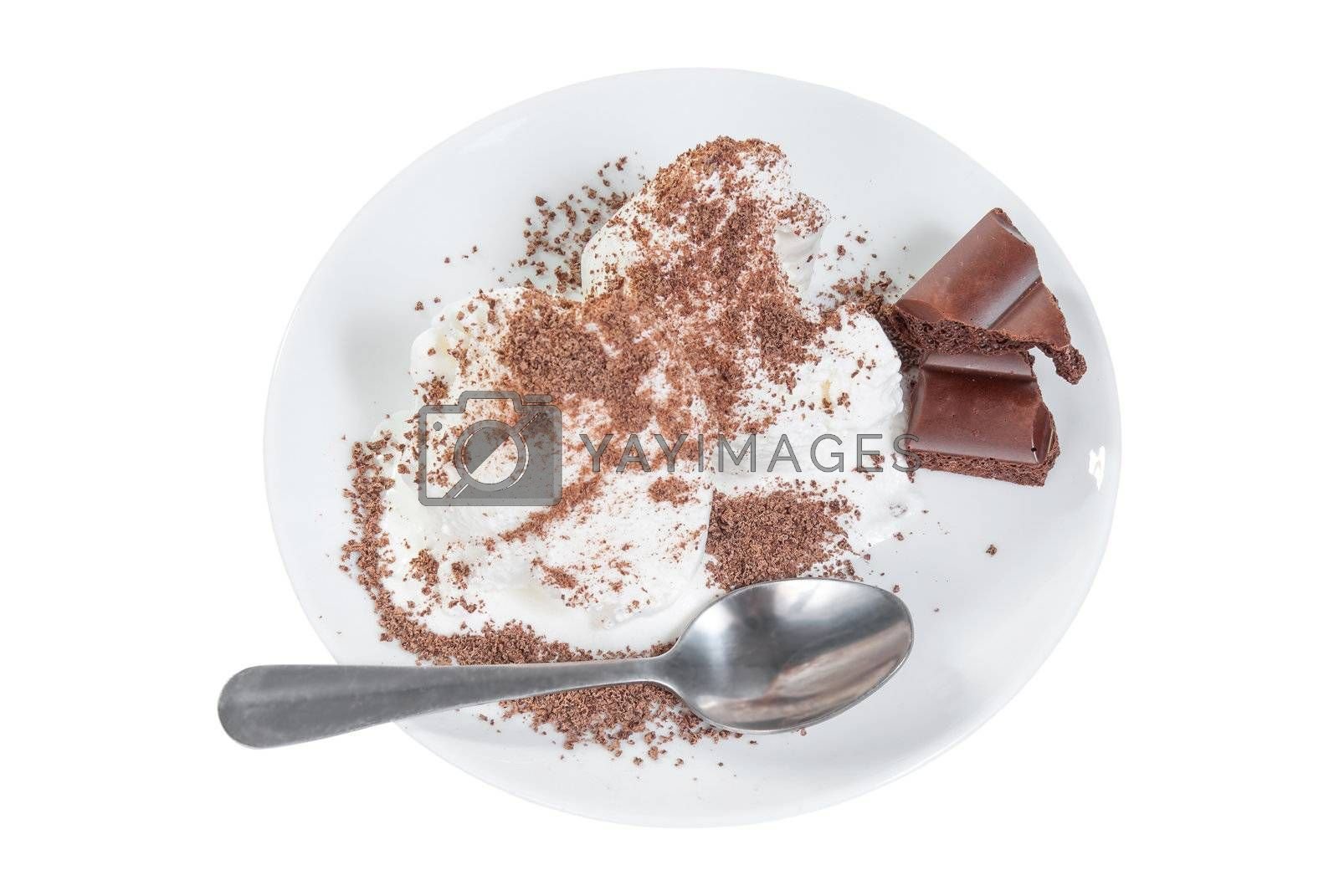 Ice cream with chocolate on plate and chocolate bar isolated on white background