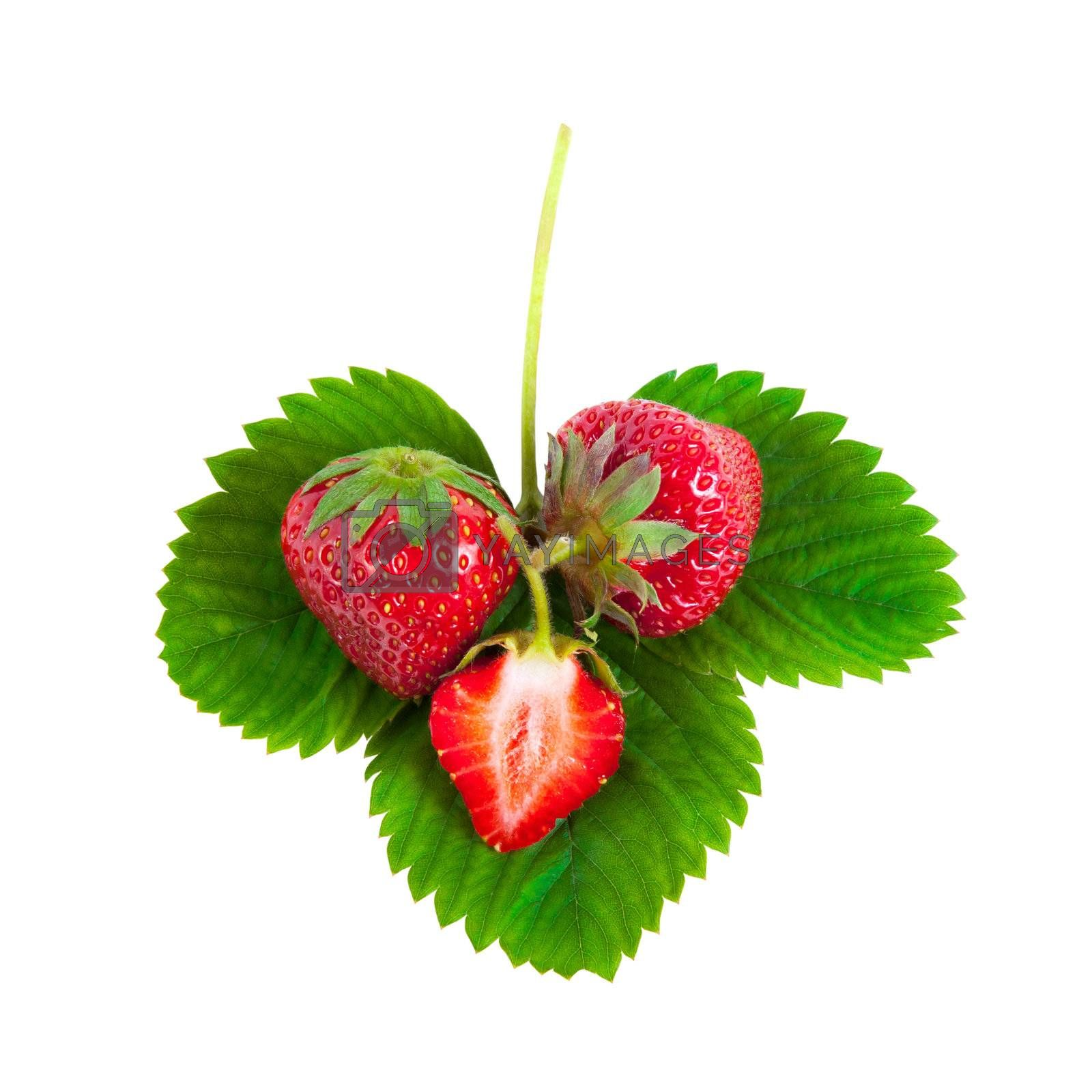 Whole and half strawberries on green leaves isolated on white background