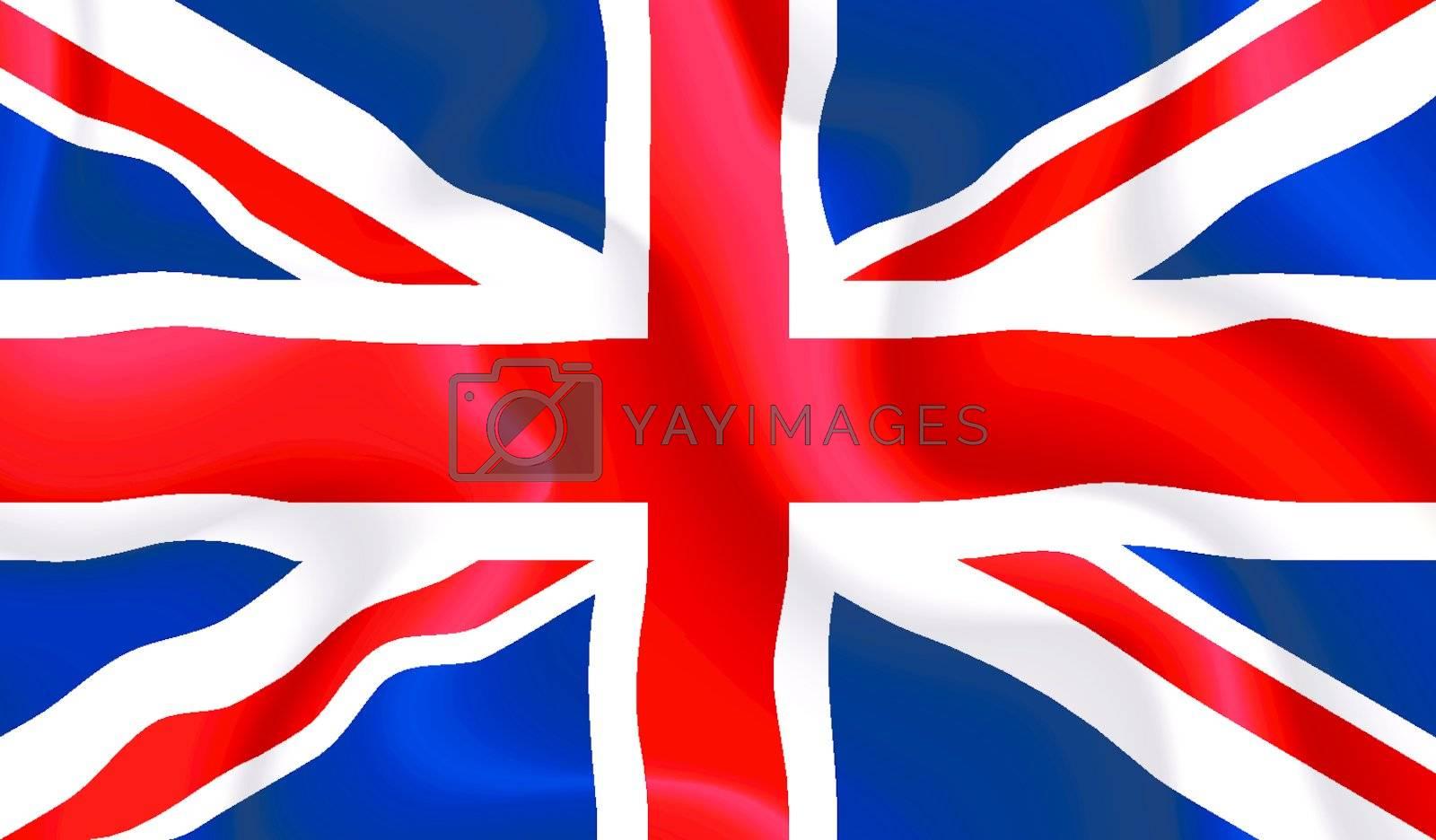 Satin UK waving flag, eps10 vector illustration