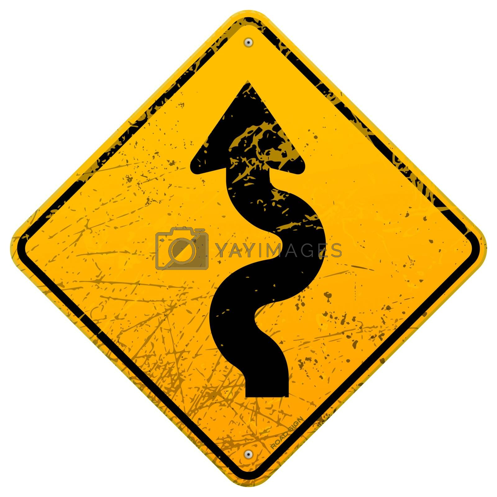 Yellow sign with winding road black symbol