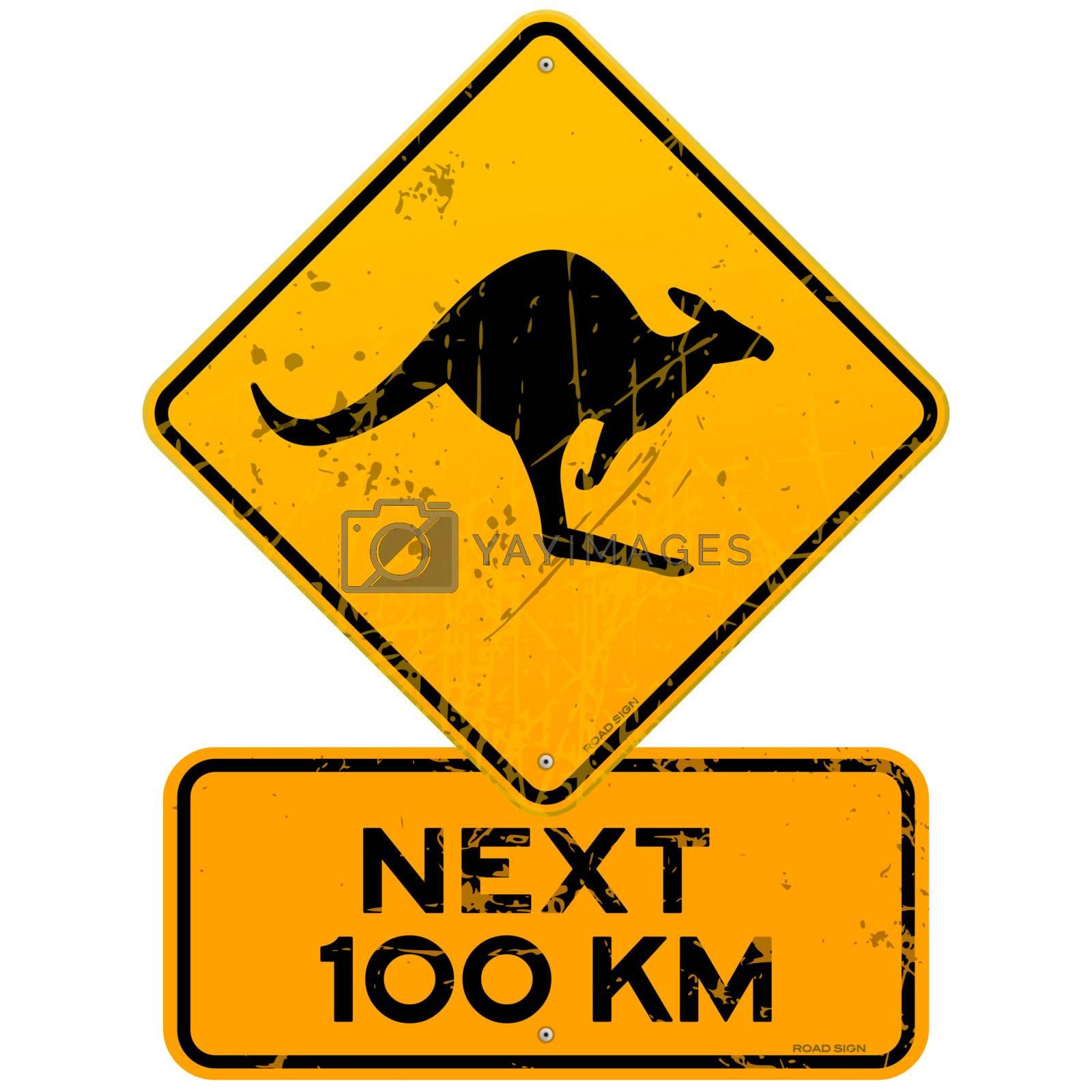 Yellow Kangaroo roadsign with next 100 km additional table