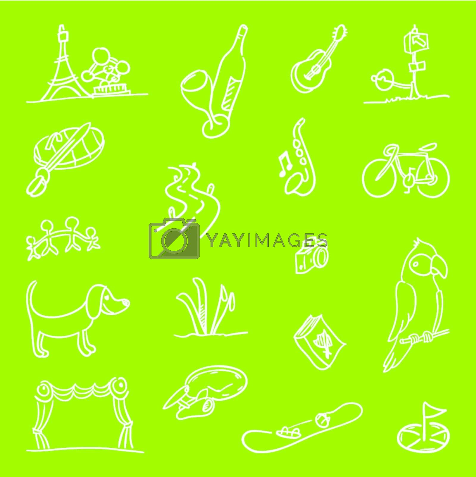 White handmade icons of various hobbies on green background