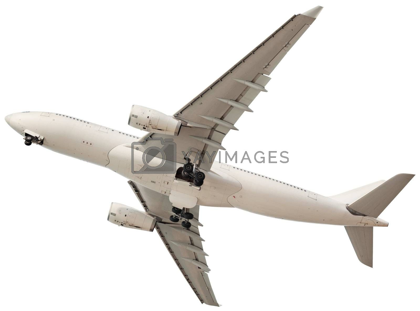 Passenger airplane isolated on a white background
