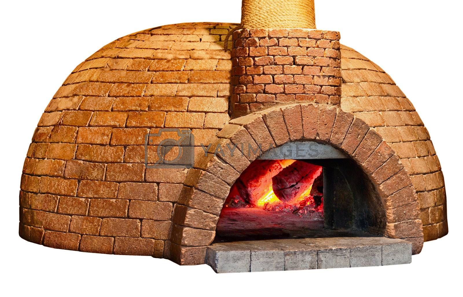 Old brick bread oven is isolated on a white background