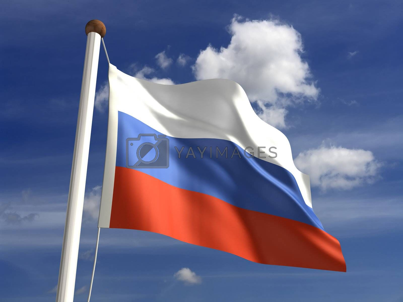 3D Russia flag (with clipping path)