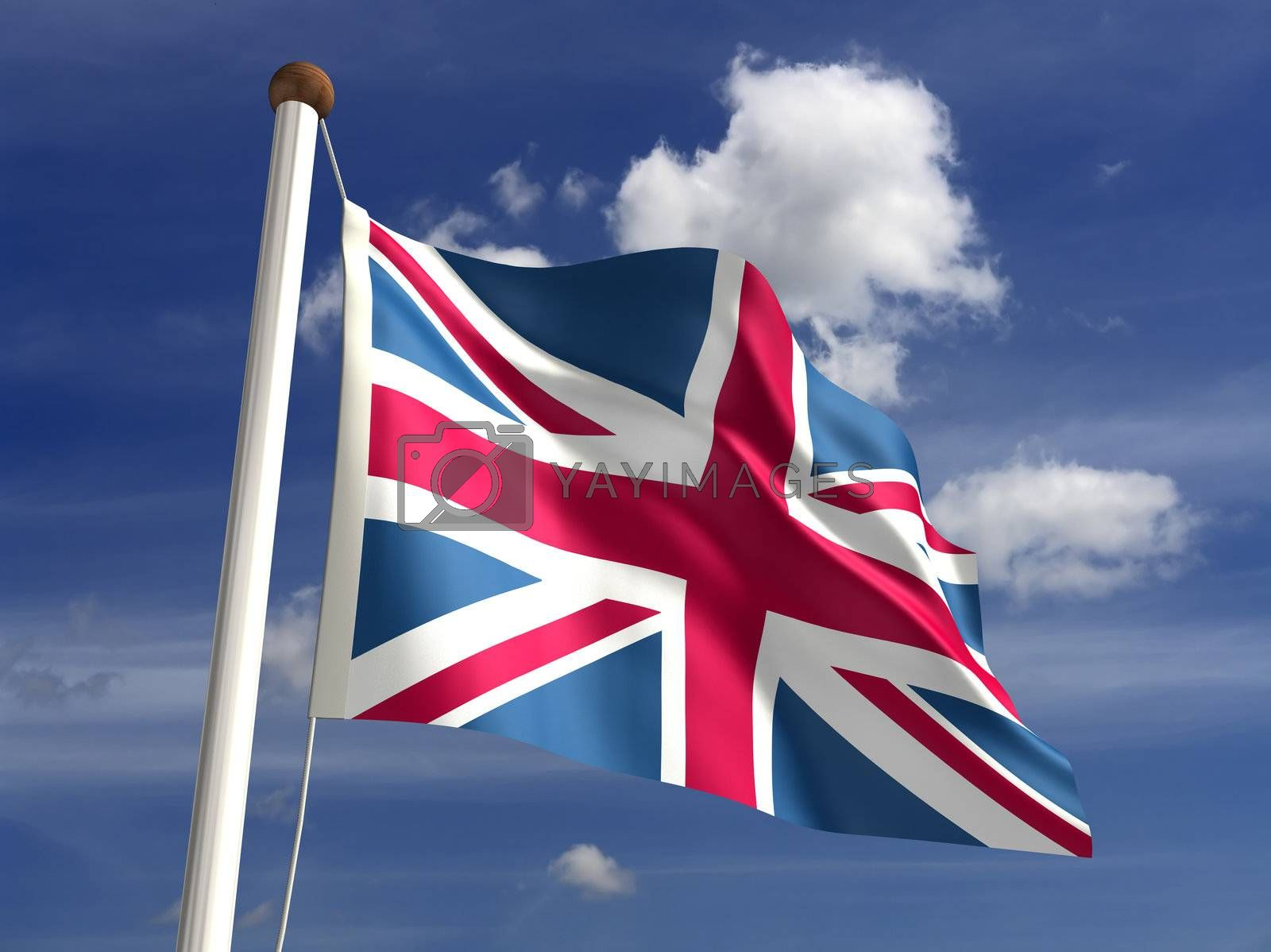 3D United Kingdom flag (with clipping path)