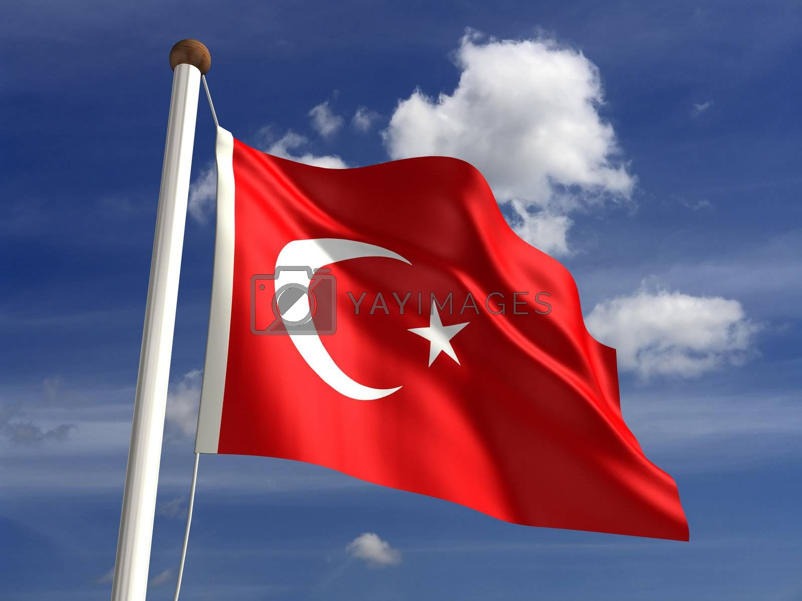 3D Turkey flag (with clipping path)