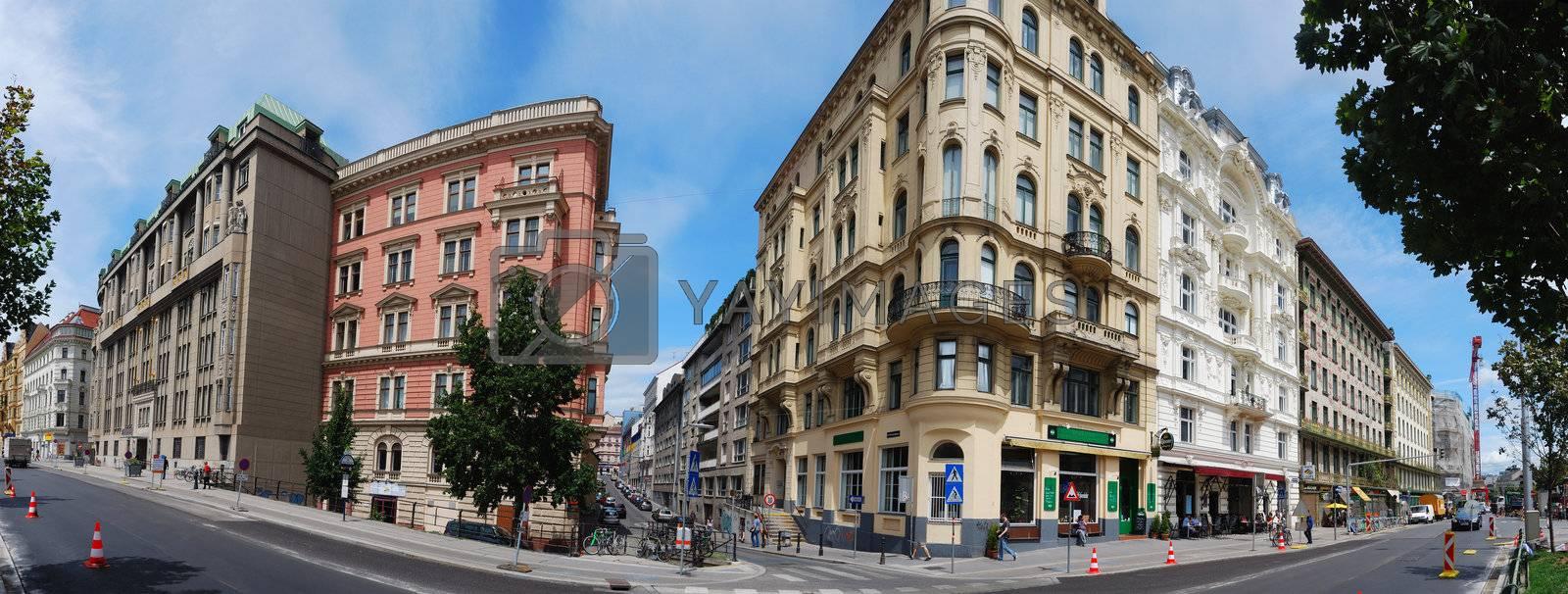 vienna row house complete panorama in Vienna Austria