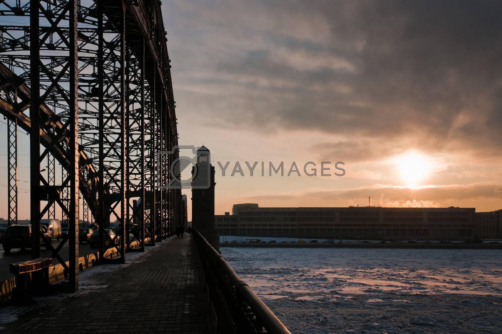 Sunrise from the bridge by dmitryelagin