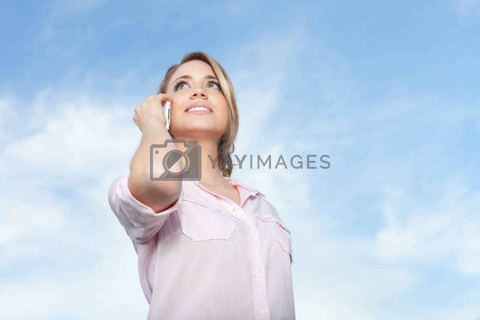 young beautiful woman using cellphone device