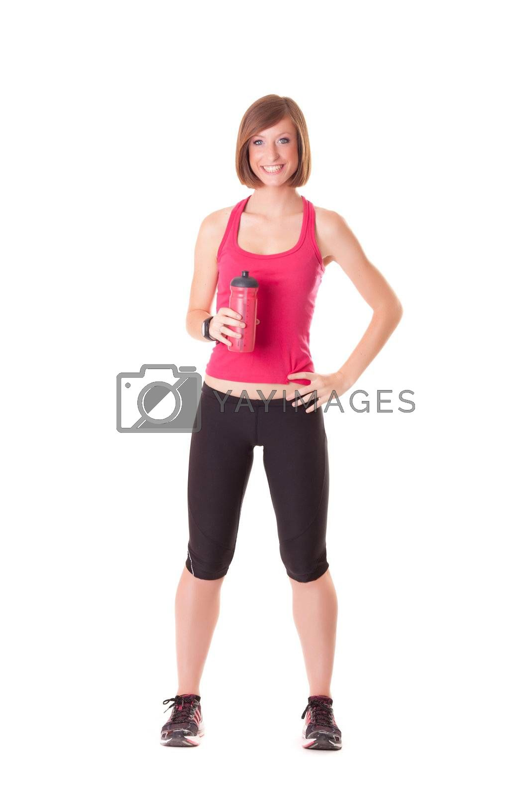 young beautiful sport woman standing making elongation isolated on white background