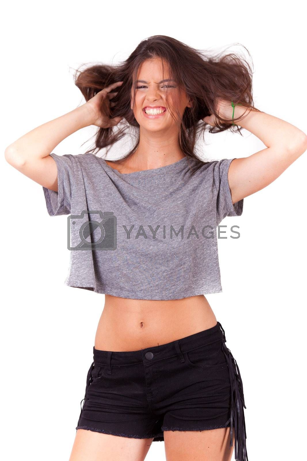 young beautiful women playing with hair on white background