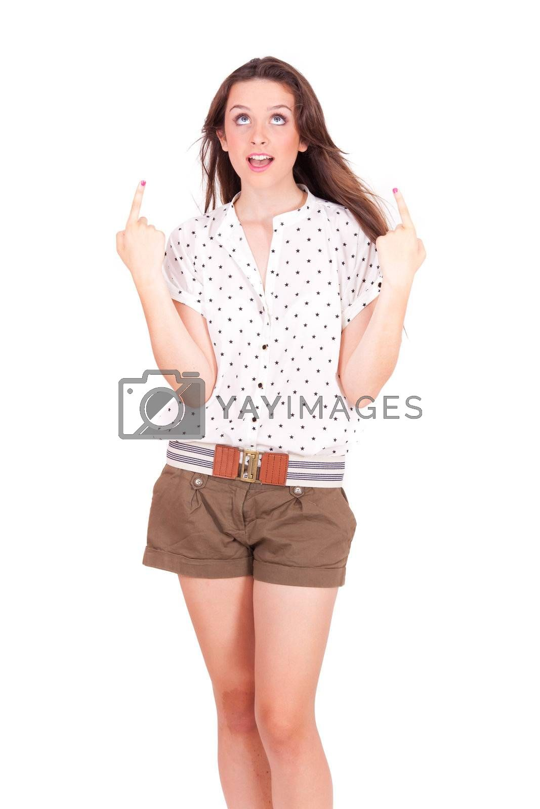 young women pointing up on white background
