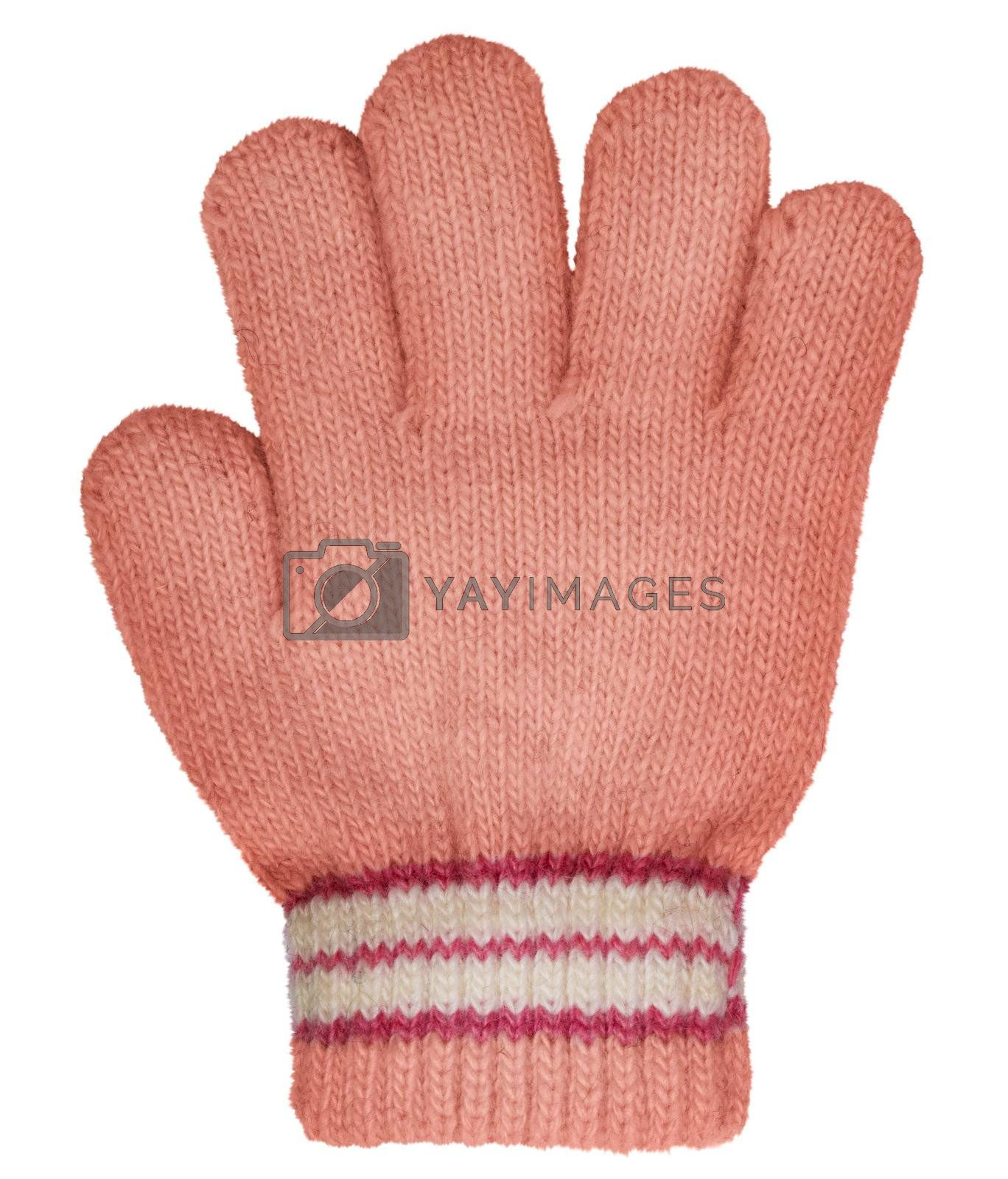 Children's knitted woolen glove isolated on white background