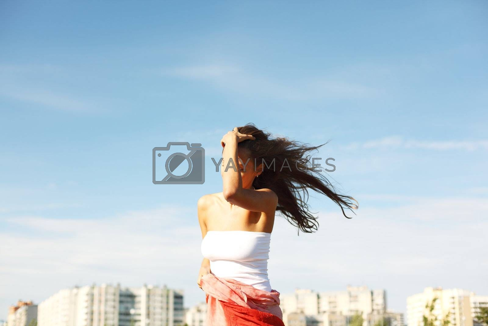 summer woman in blue sky