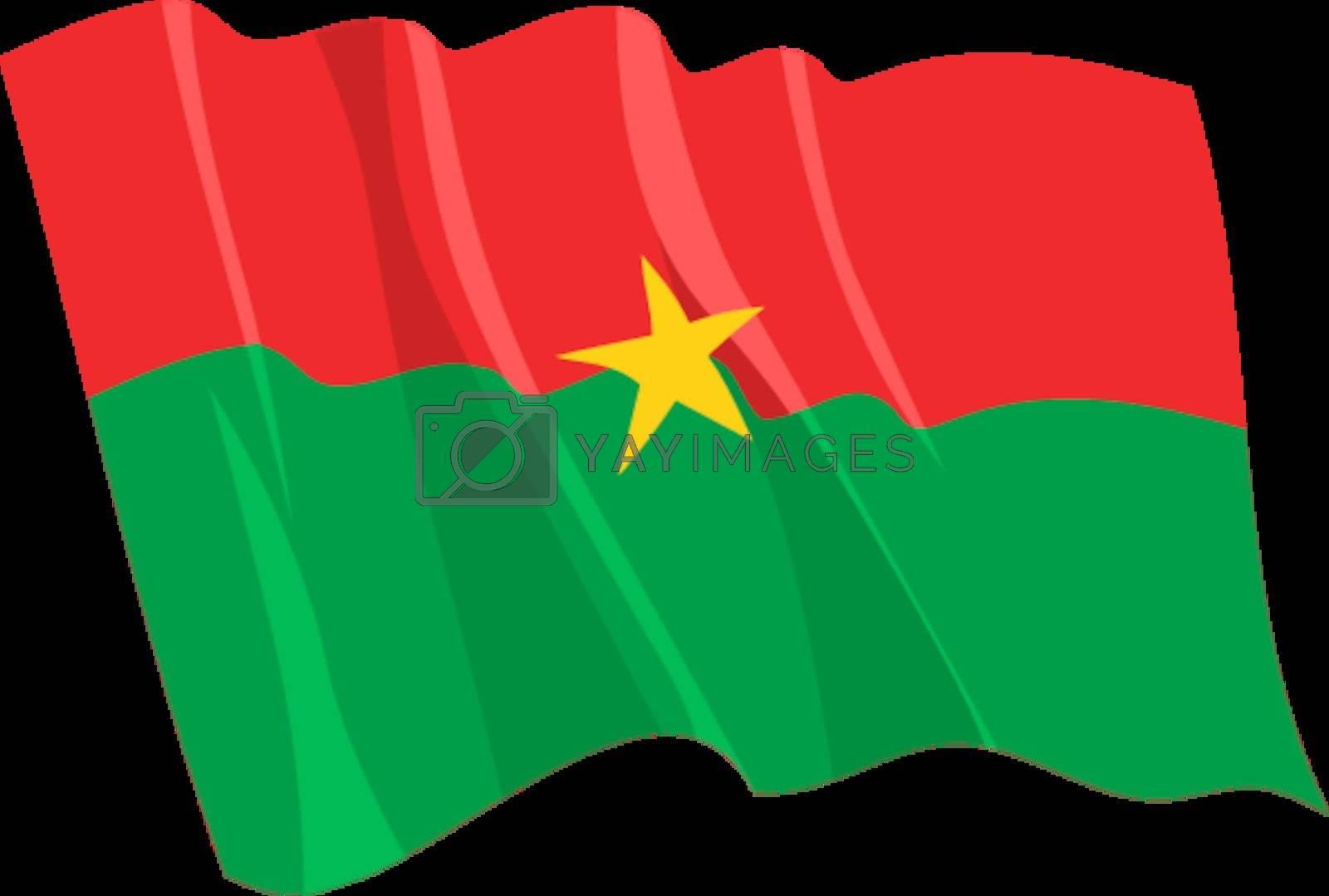 Political waving flag of Burkina Faso