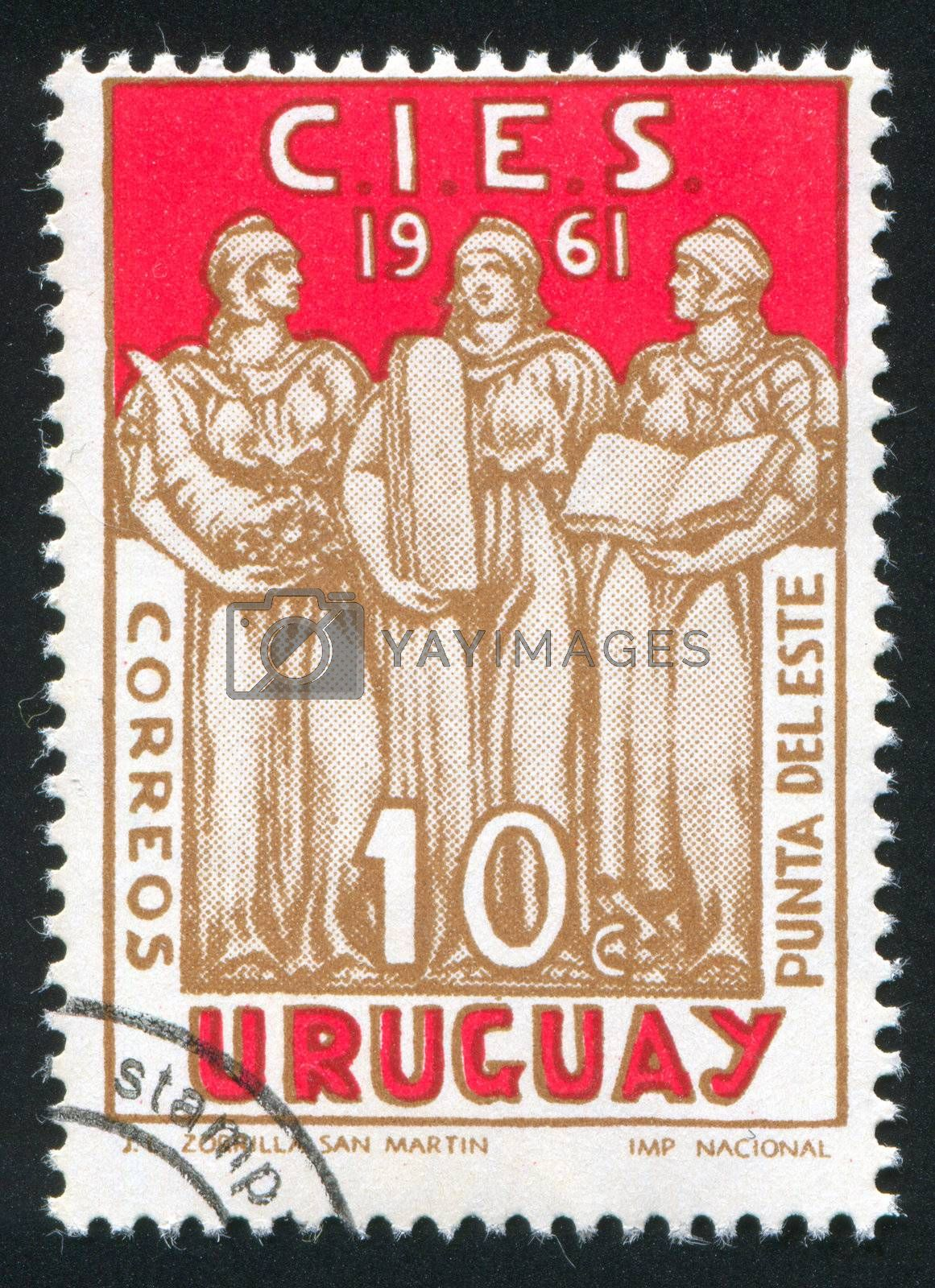 URUGUAY - CIRCA 1961: stamp printed by Uruguay, shows Welfare, Justice and Education, circa 1961