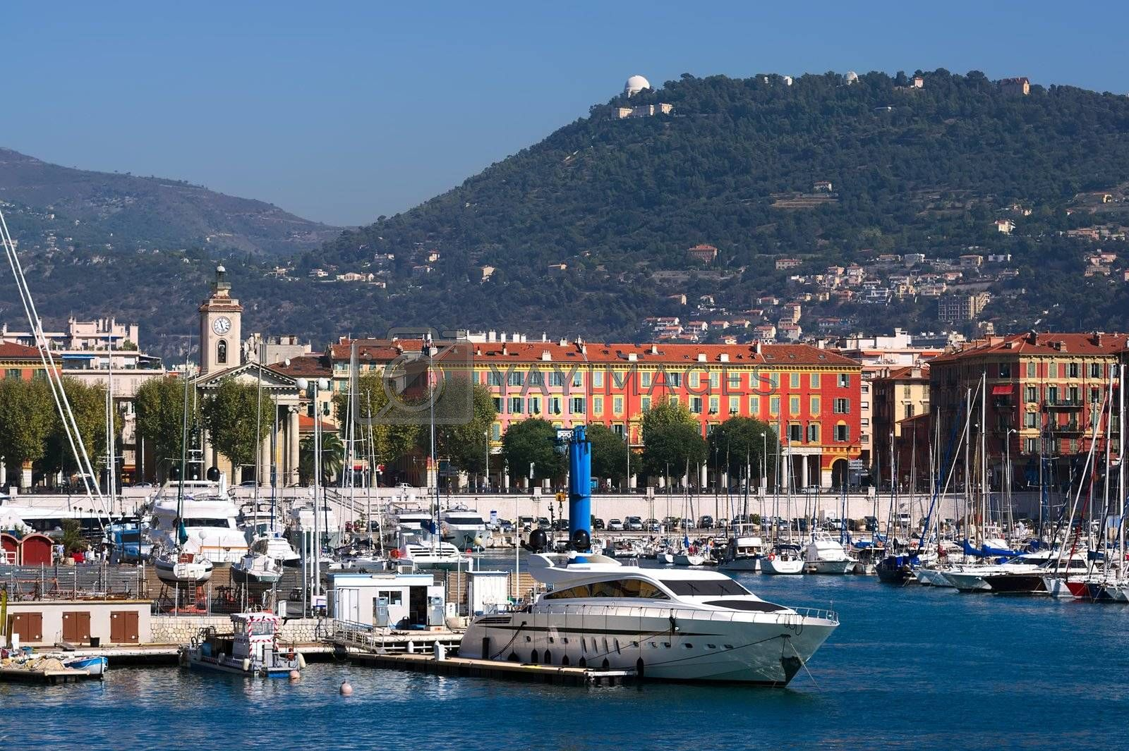view over Marseille port, Mediterranean Sea, France