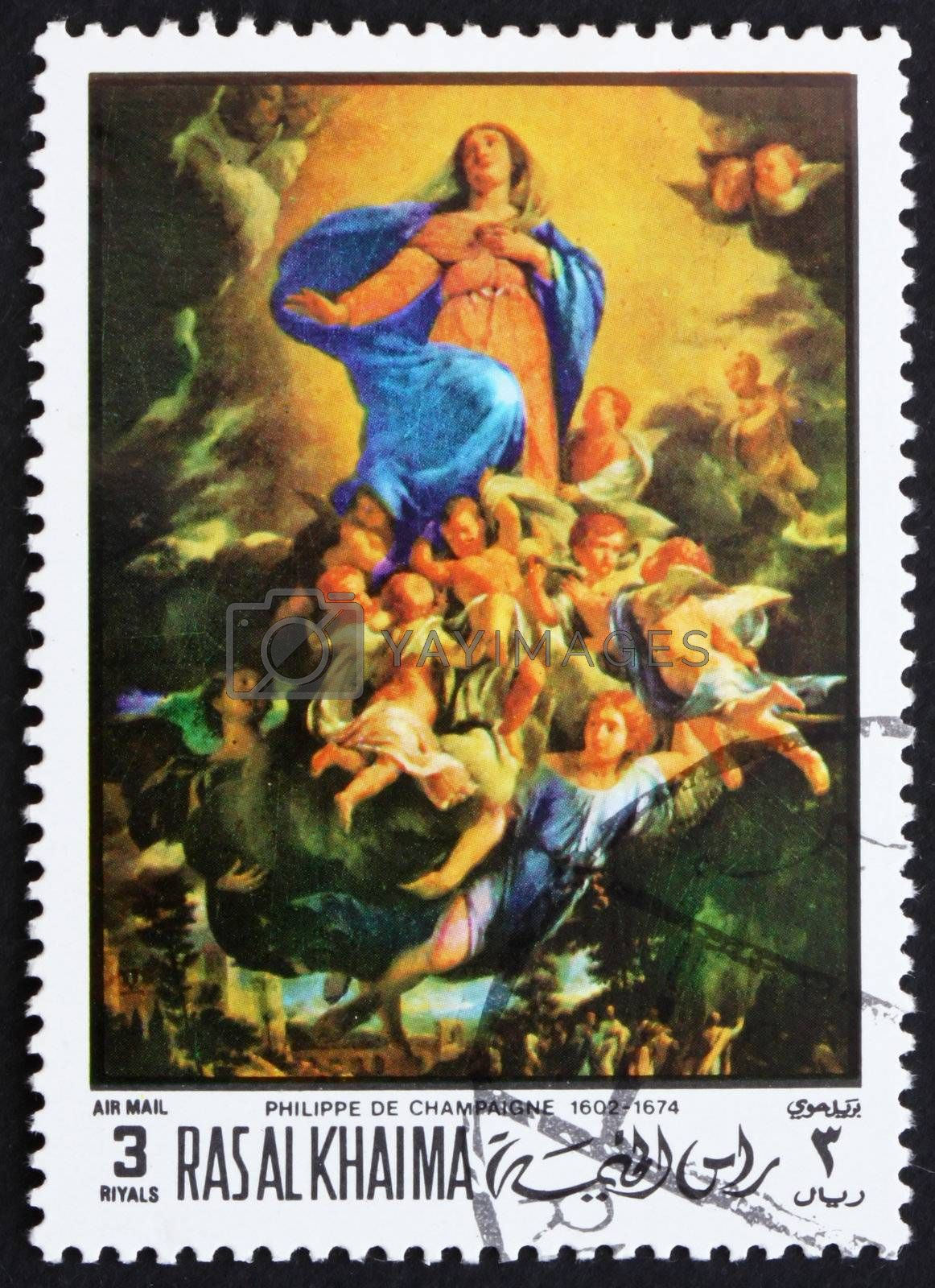 RAS AL-KHAIMAH - CIRCA 1970: a stamp printed in the Ras al-Khaimah shows The Assumption, Painting by Philippe de Champaigne, French Painter, Easter, circa 1970