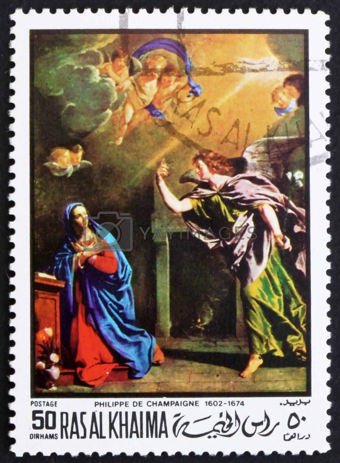 RAS AL-KHAIMAH - CIRCA 1970: a stamp printed in the Ras al-Khaimah shows The Annunciation, Painting by Philippe de Champaigne, French Painter, Easter, circa 1970