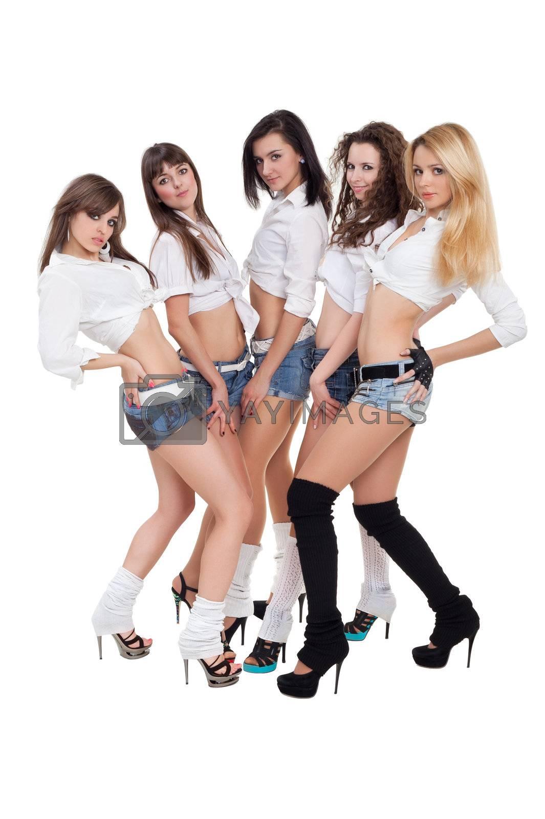 Modern ballet of five dancers posing for photo