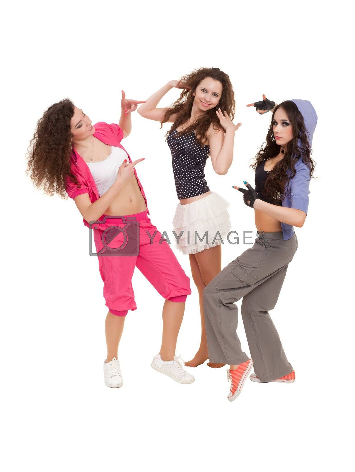 Modern ballet of three dancers posing for photo