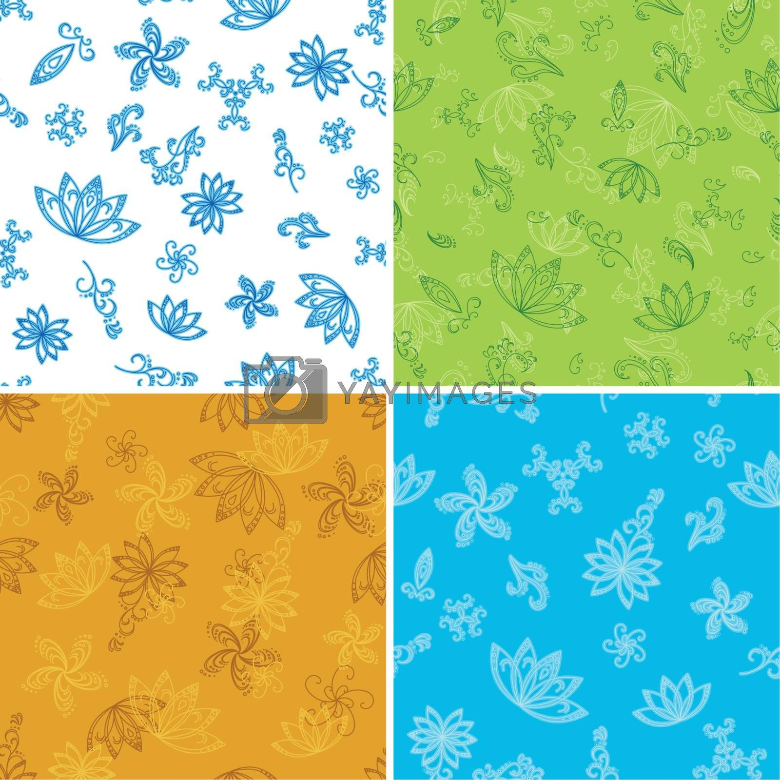 Set abstract seamless floral backgrounds with outline symbolical flowers. Vector illustration
