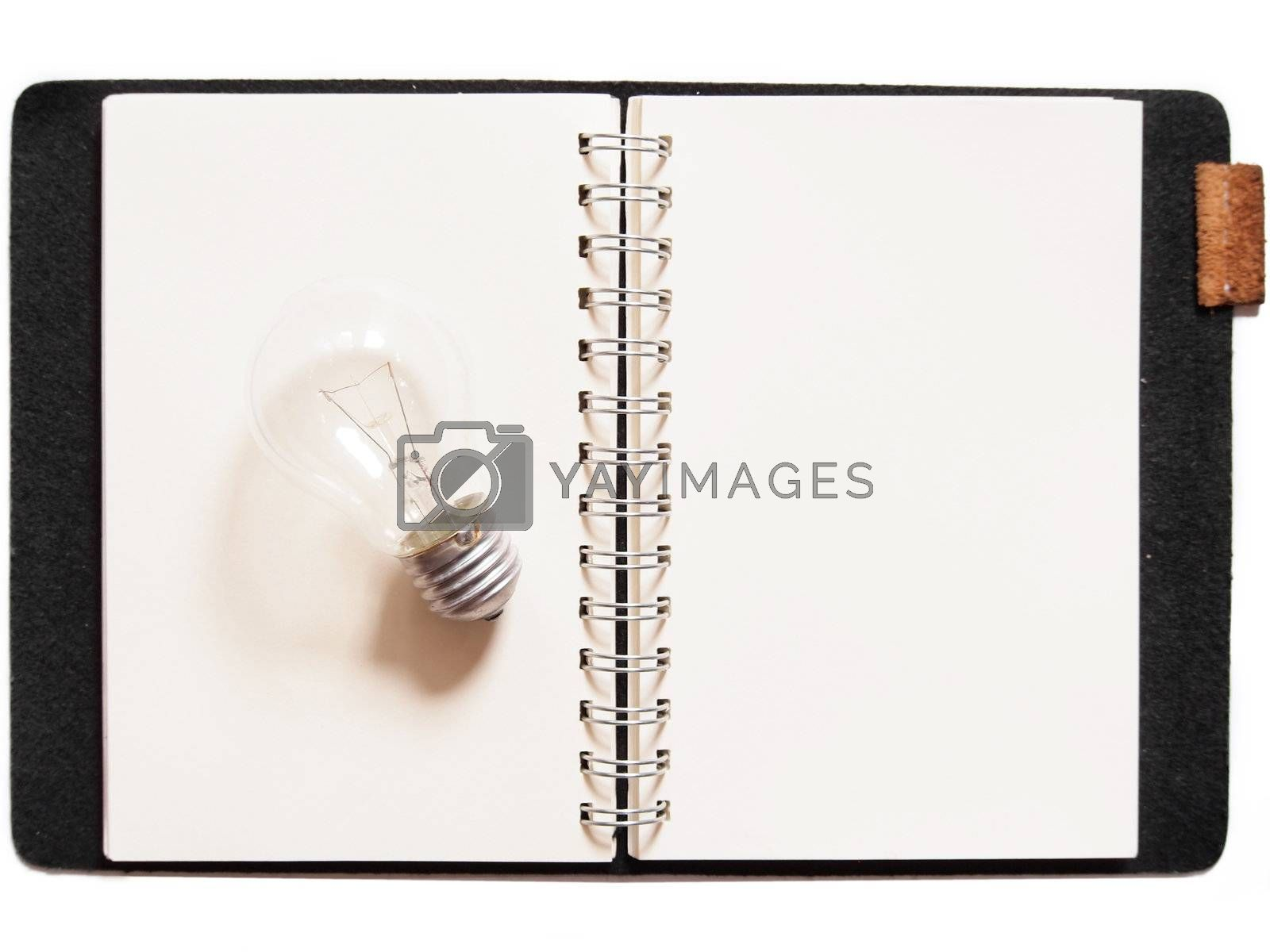 Light bulb placed on notebook