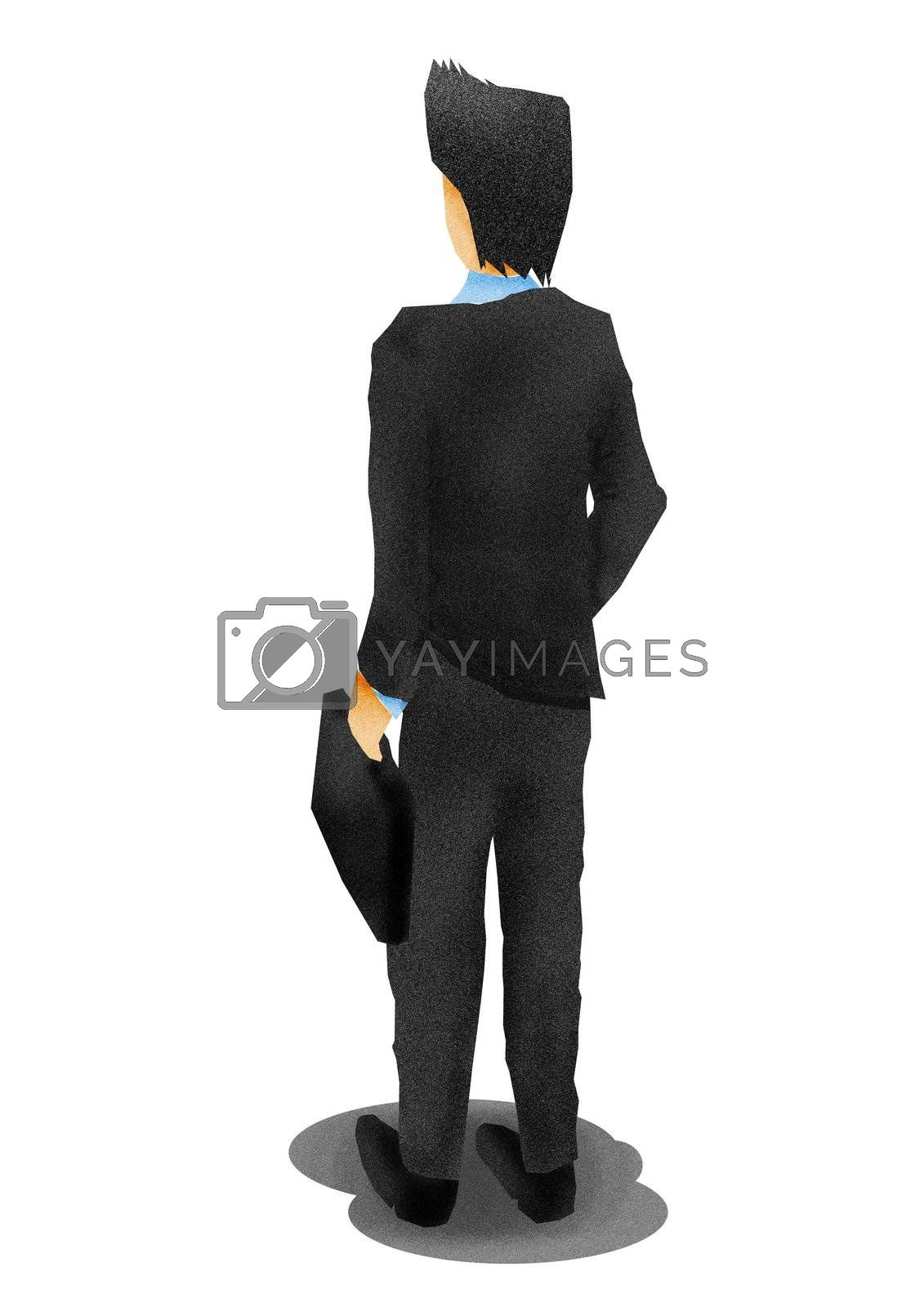 business man from the back,illustration