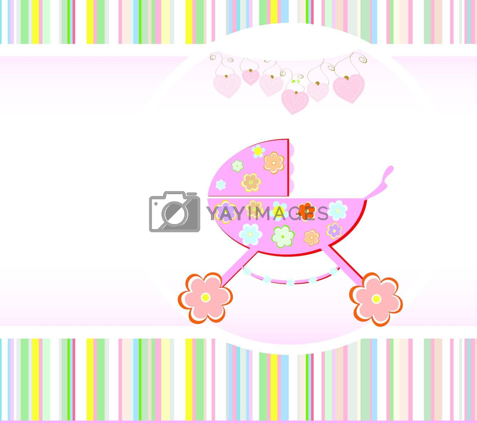 Baby girl announcement card. Vector illustration. Birthday theme