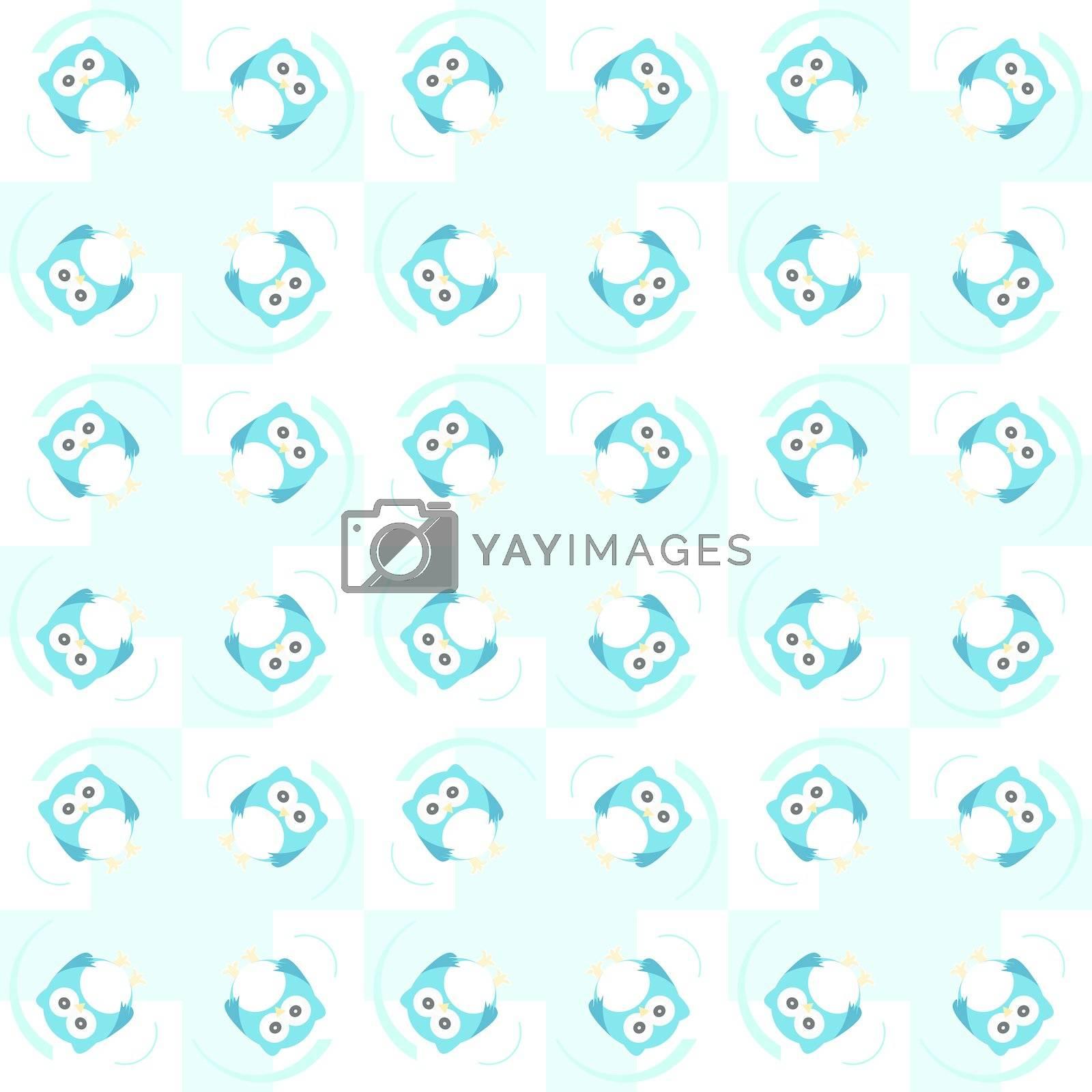 Cute seamless owl background pattern - baby boy card