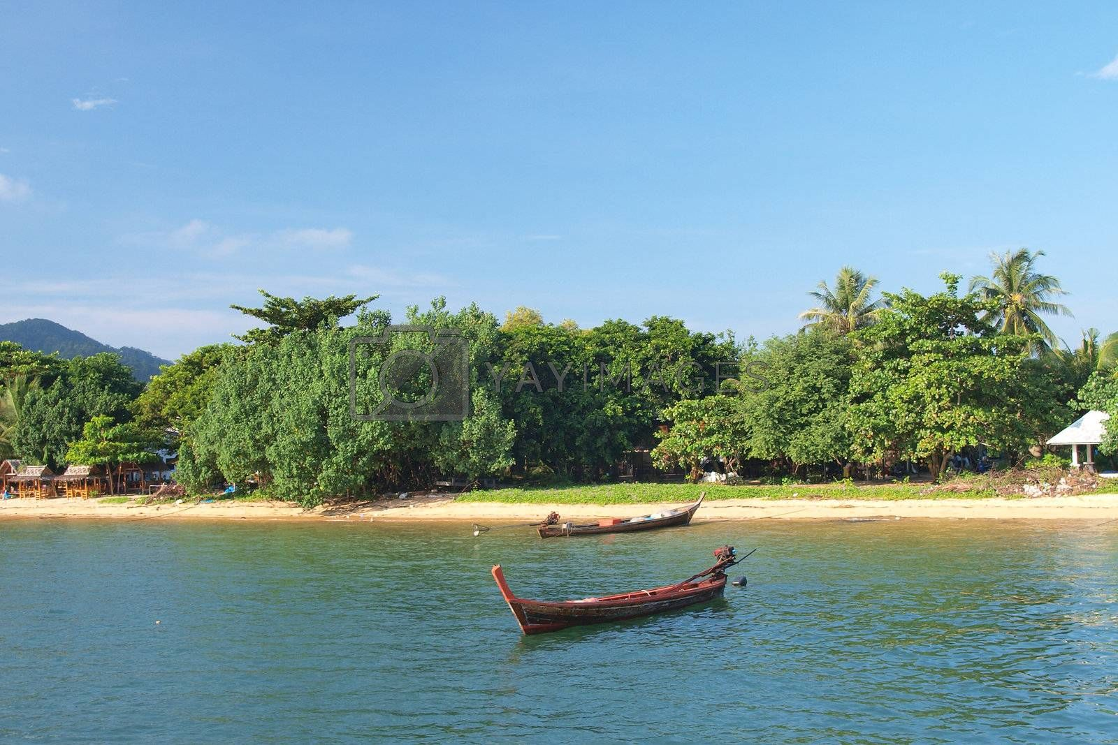 boat on the sea in payam island, Thailand