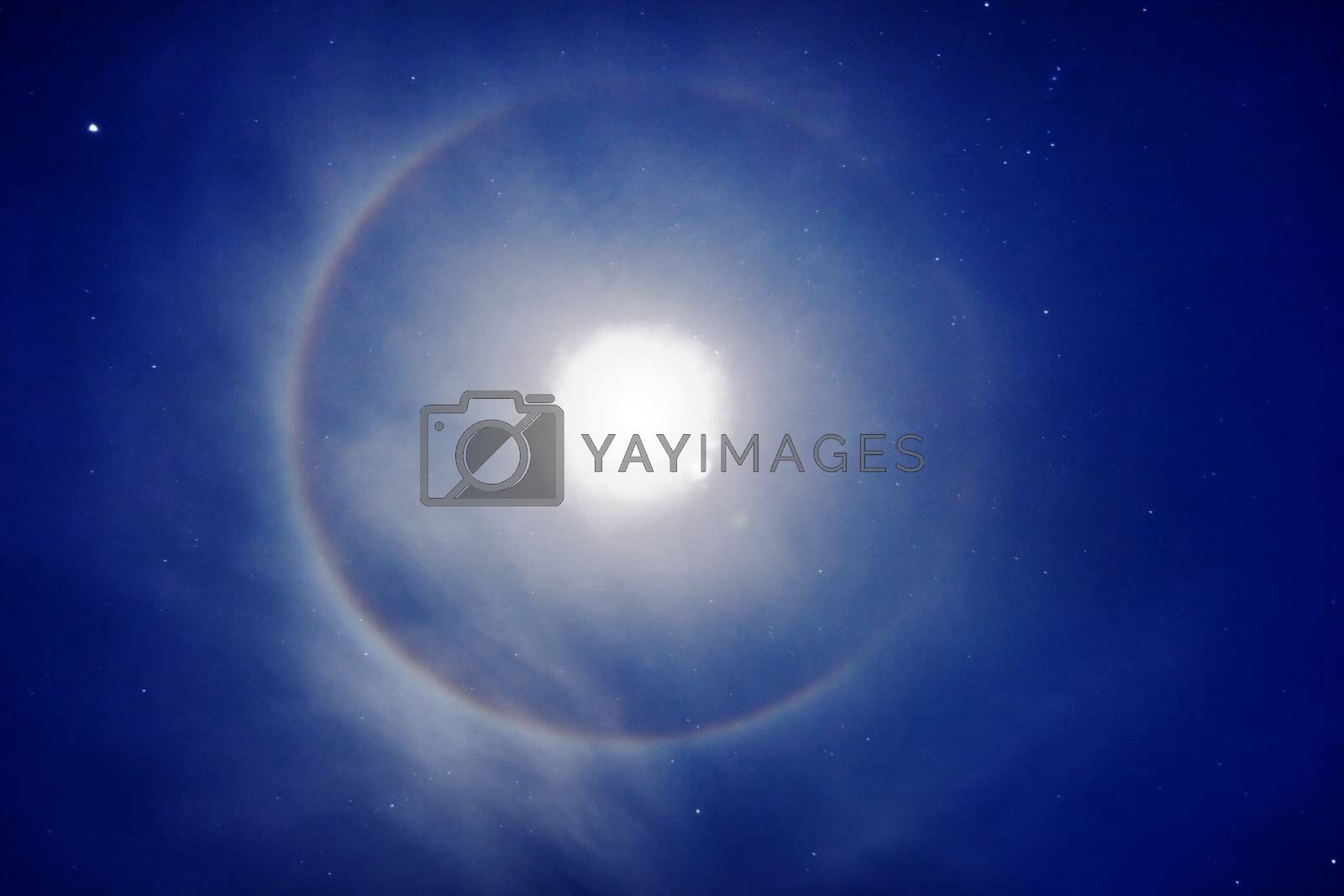 The halo around the moon - night photo