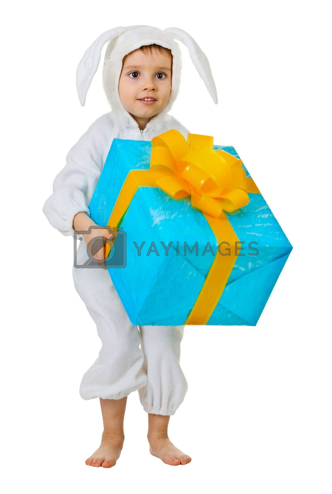 Child dressed as a rabbit with a jumbo gift isolated on white background