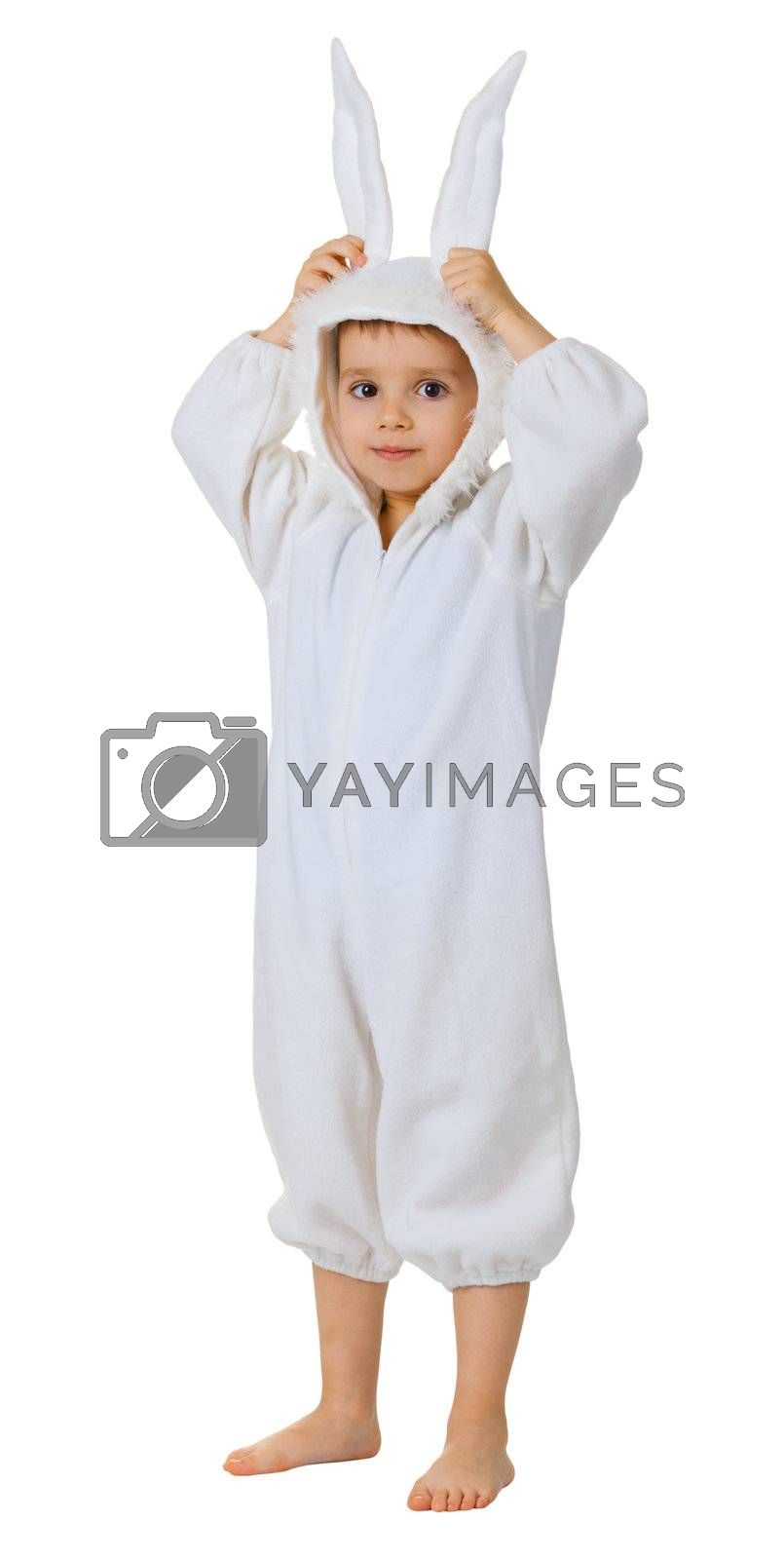 A boy dressed as a rabbit standing isolated on white background
