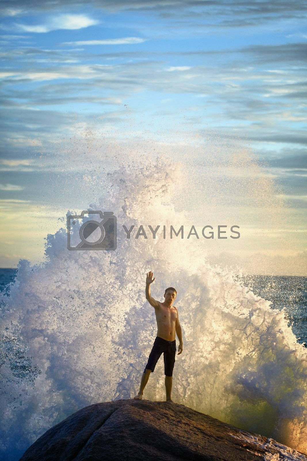 A young man like a god of the sea commands the elements