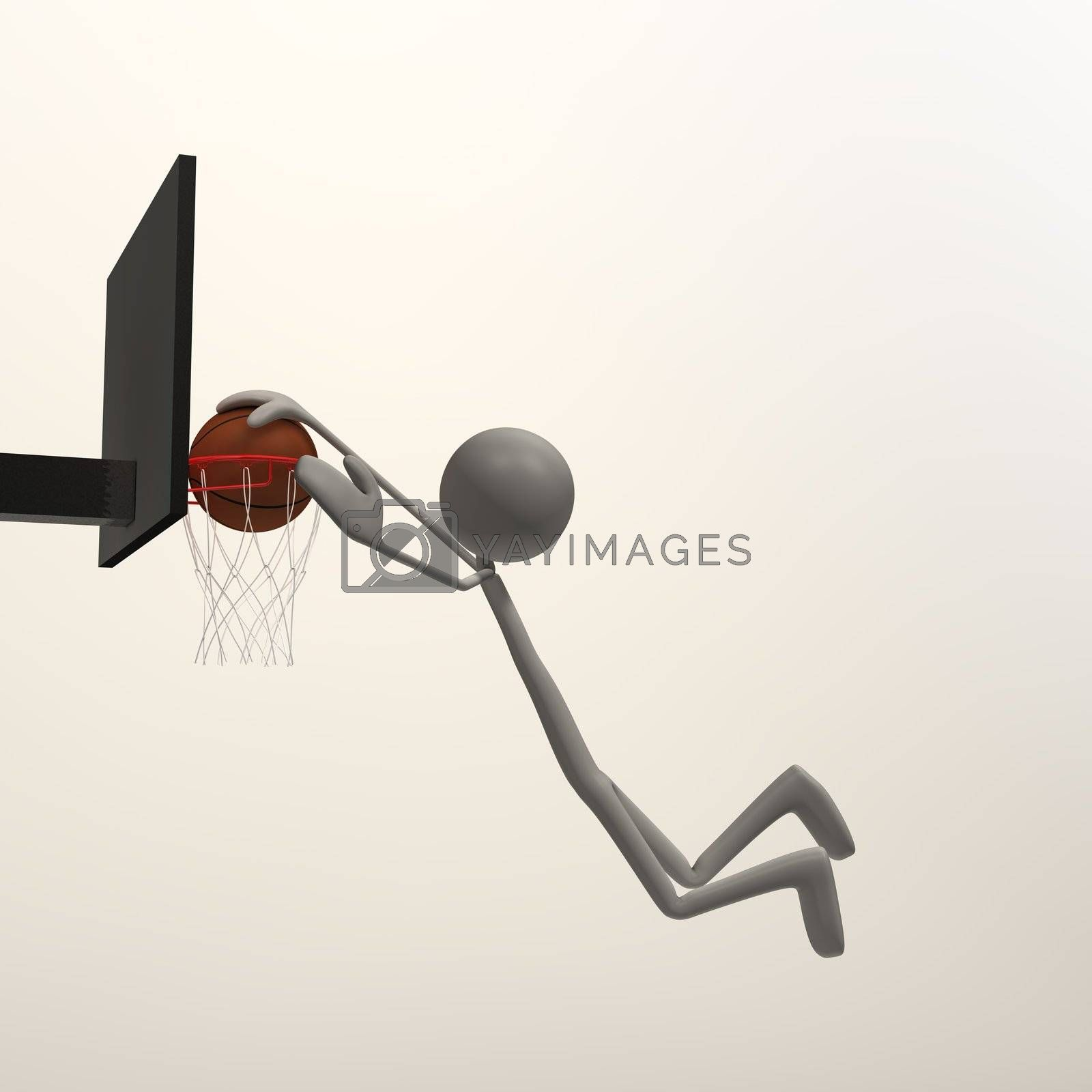 a figure is doing a slam dunk