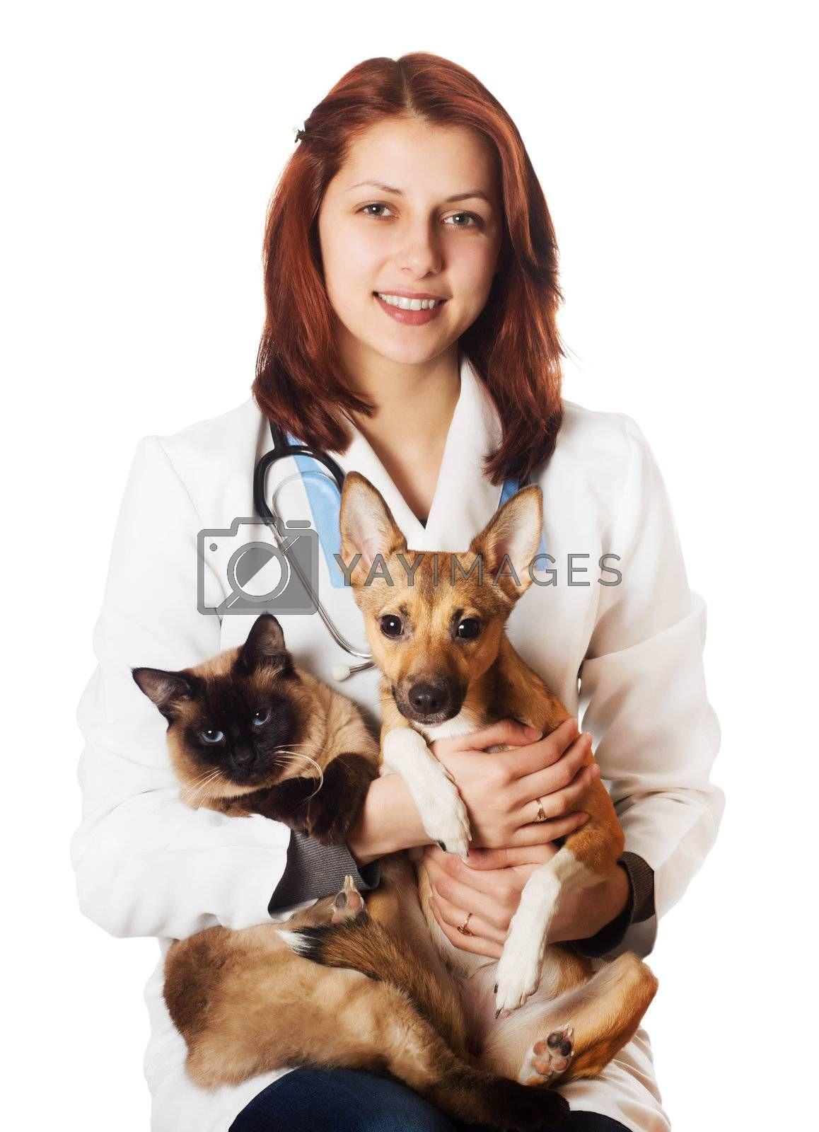 Woman vet with pets on a white background isolated by gurin oleksandr