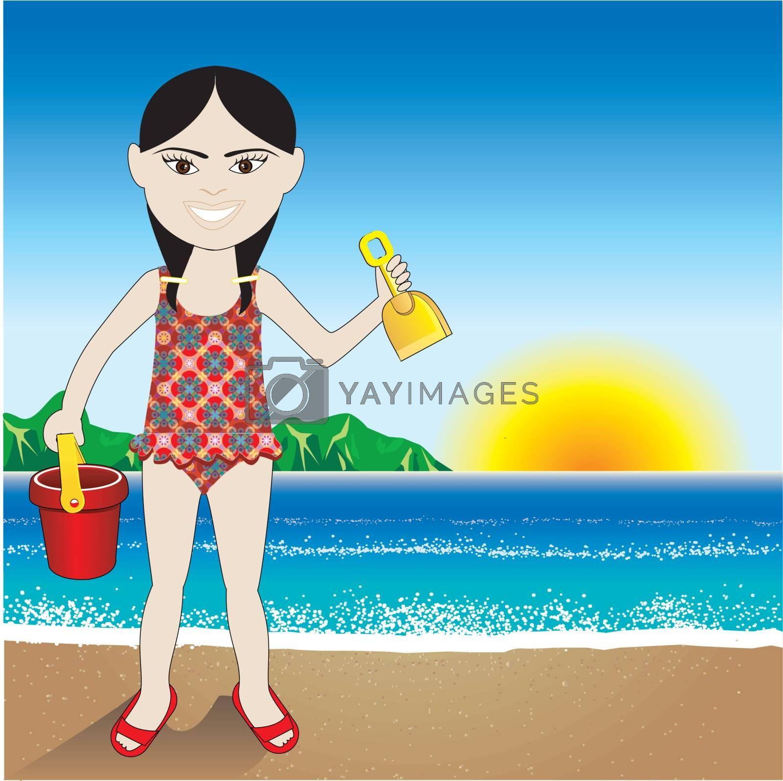 Vector Illustration of a Beach Sand Chinese Girl Background.