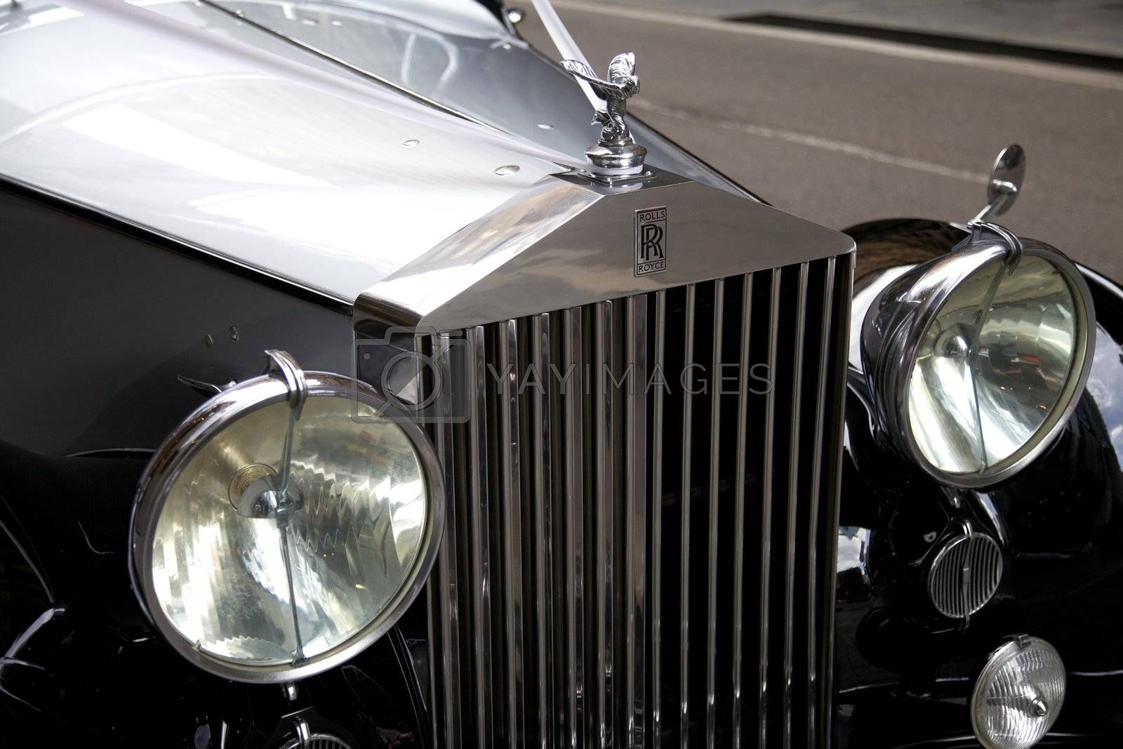 Classic White Rolls Royce With the Famous Flying Lady Emblem Mascot