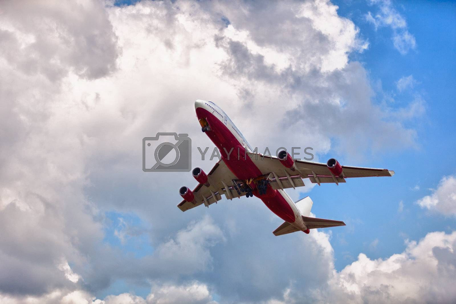 Large passenger aircraft on the sky background