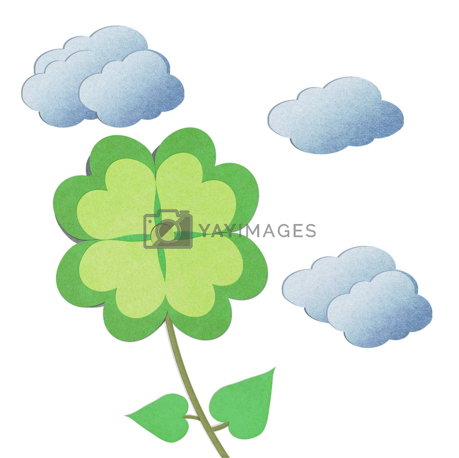 recycle paper flower with leaves on white background