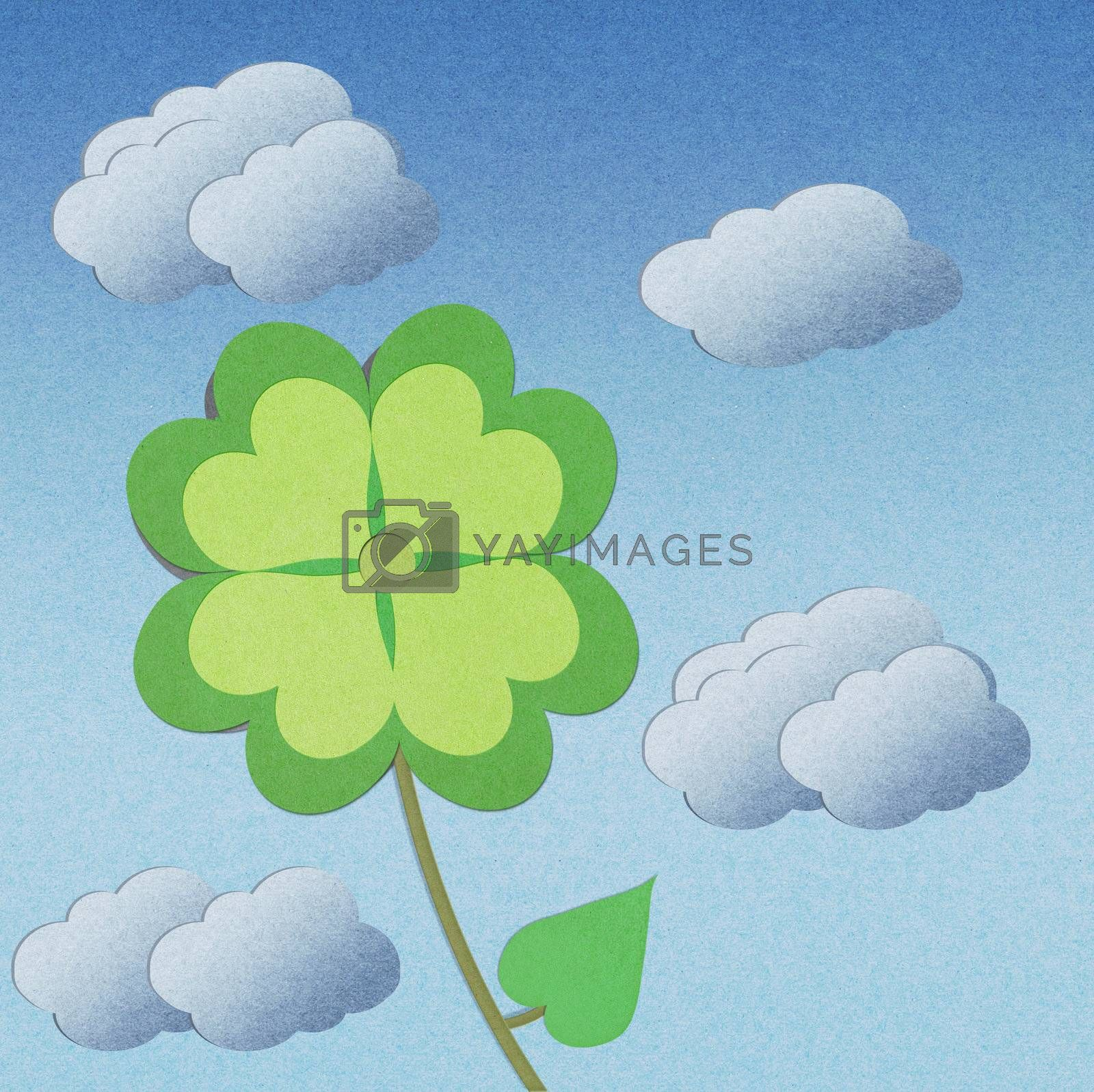 recycle paper clover with four leaves on white background