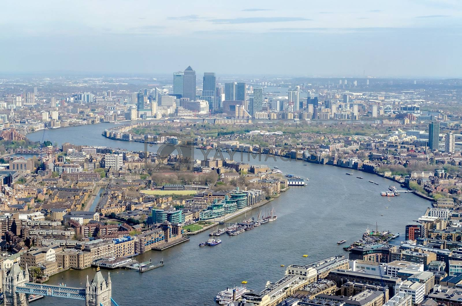 Panoramic View of London, over the river Thames towards Canary Wharf and Eastern London