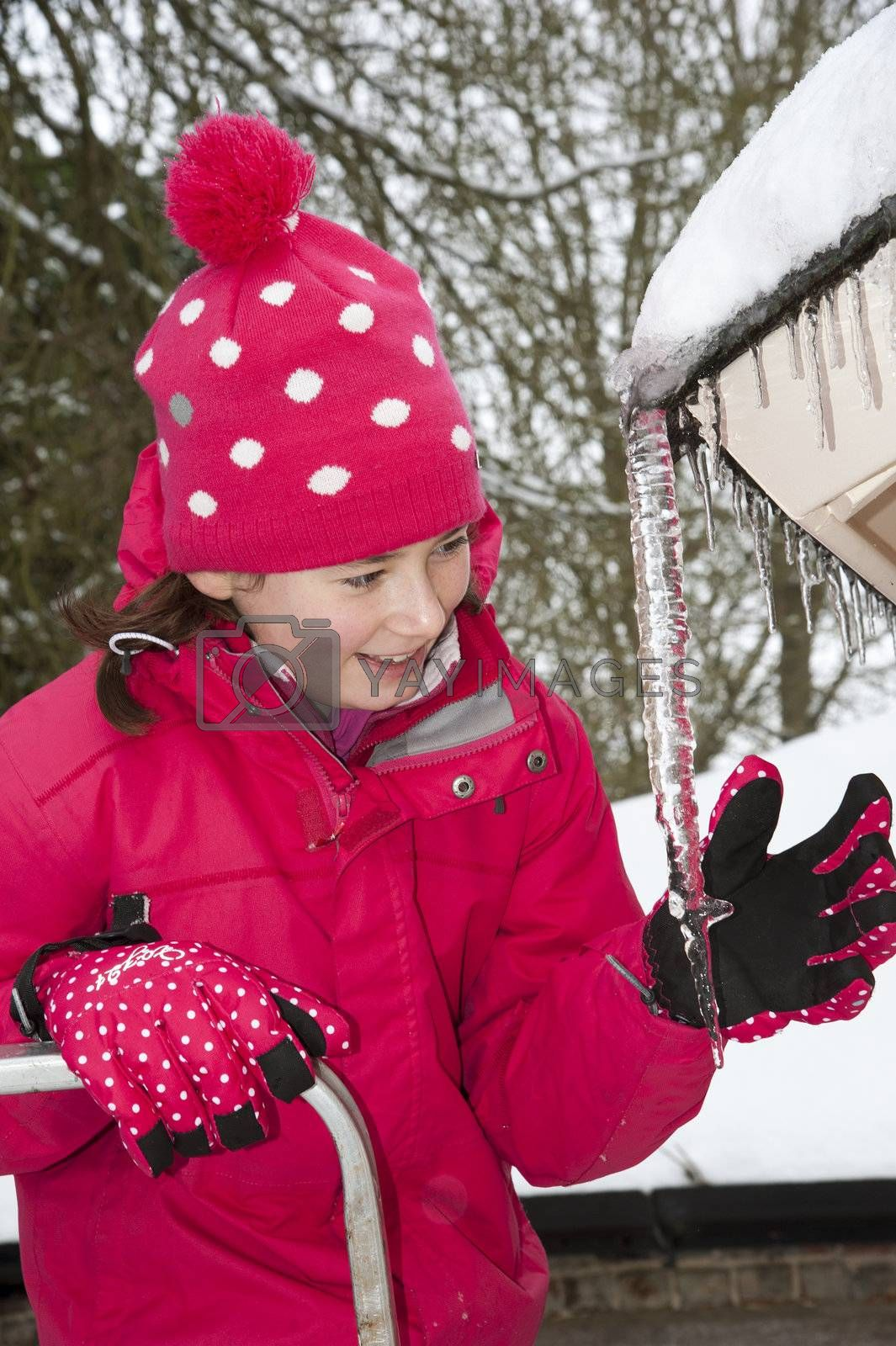 Winter cold snap. Young girl stands on some steps to check the size of an icicle hanging from a roof. Hampshire England UK