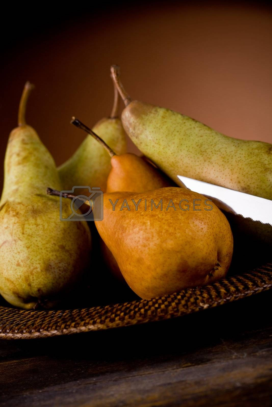 photo of pears on an old plate in poor art style