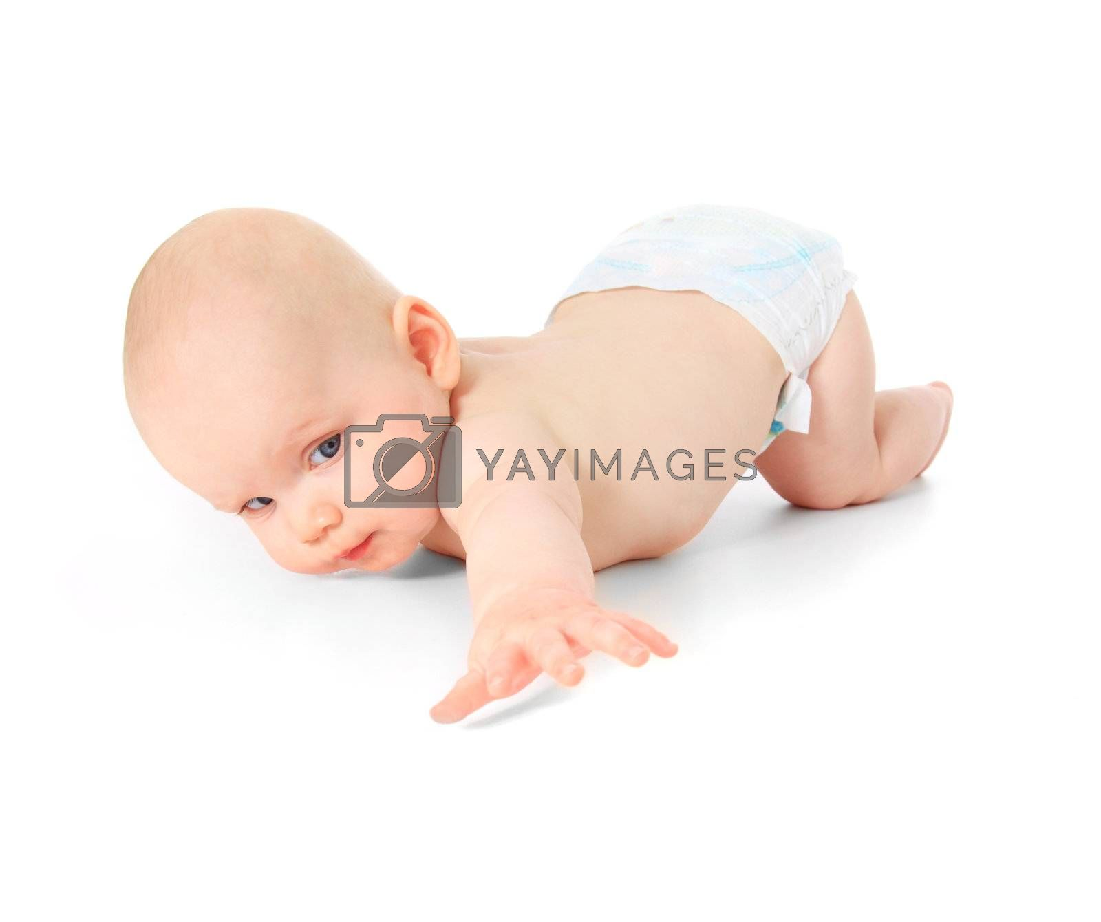 Crawling caucasian baby. All on white background.
