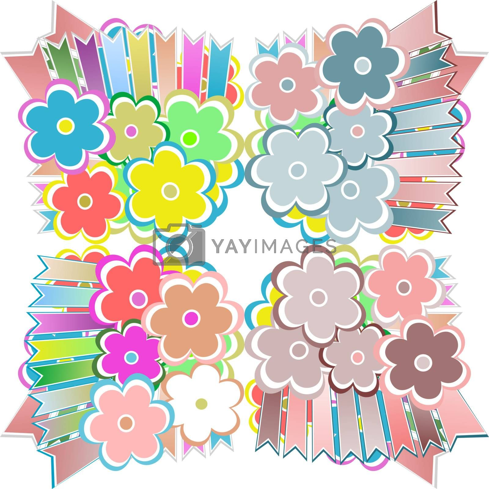 Vector seamless flowers vector abstract background pattern